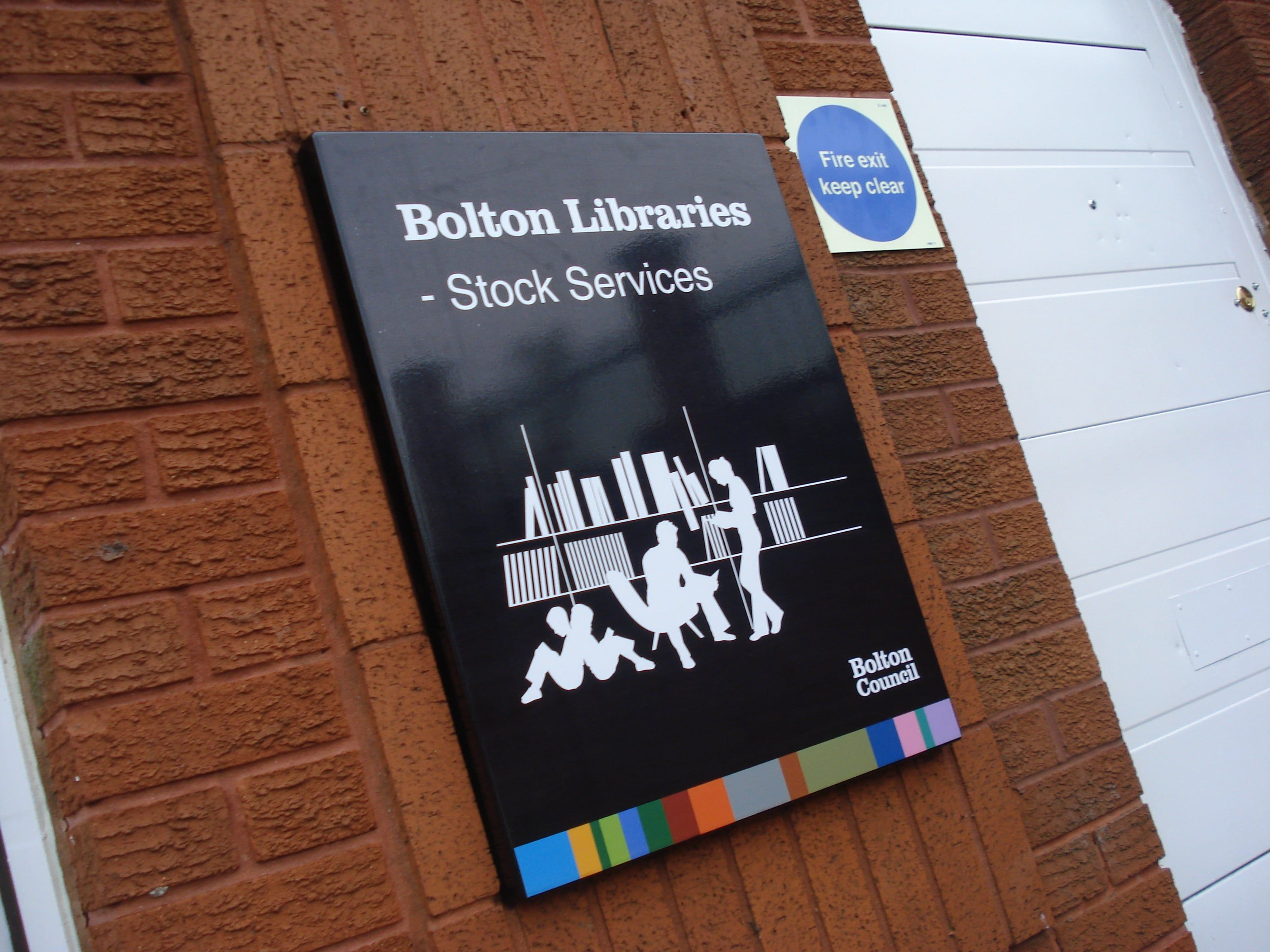 Aluminium sign tray with a full colour print to the face BOLTON COUNCIL