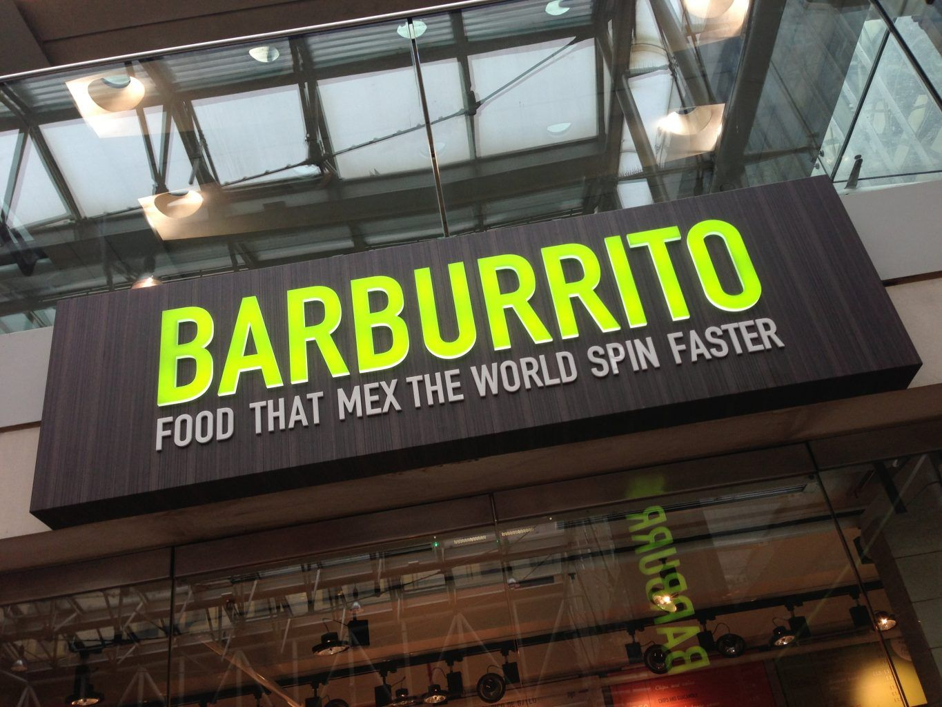 BARBURRITO Fret cut composite tray sign with push through acrylic letters
