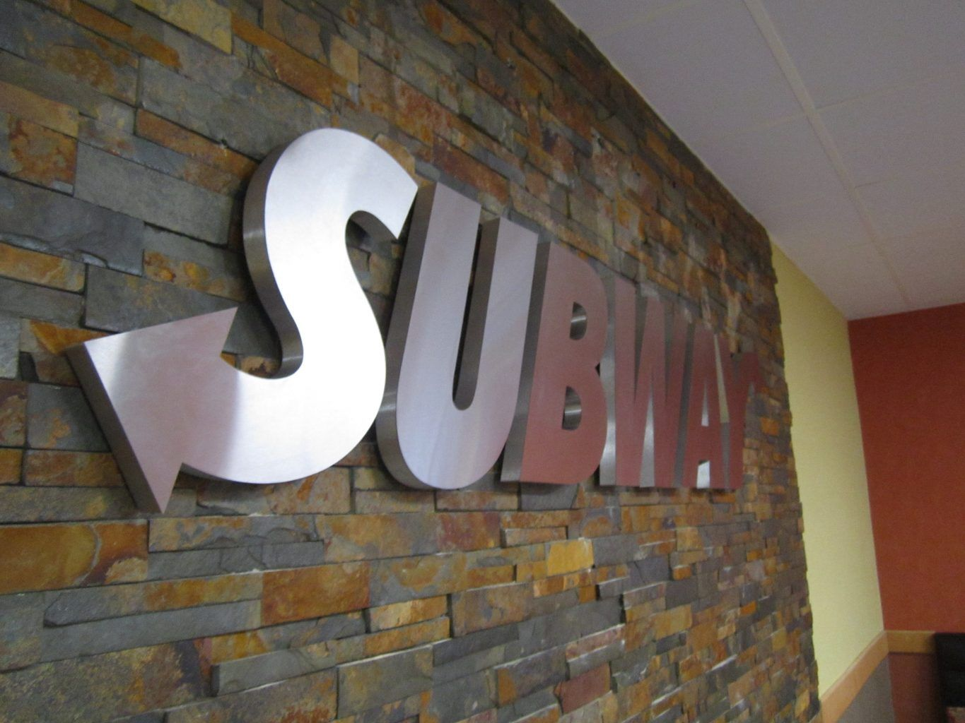 BUILT UP SUBWAY STAINLESS STEEL SIGN