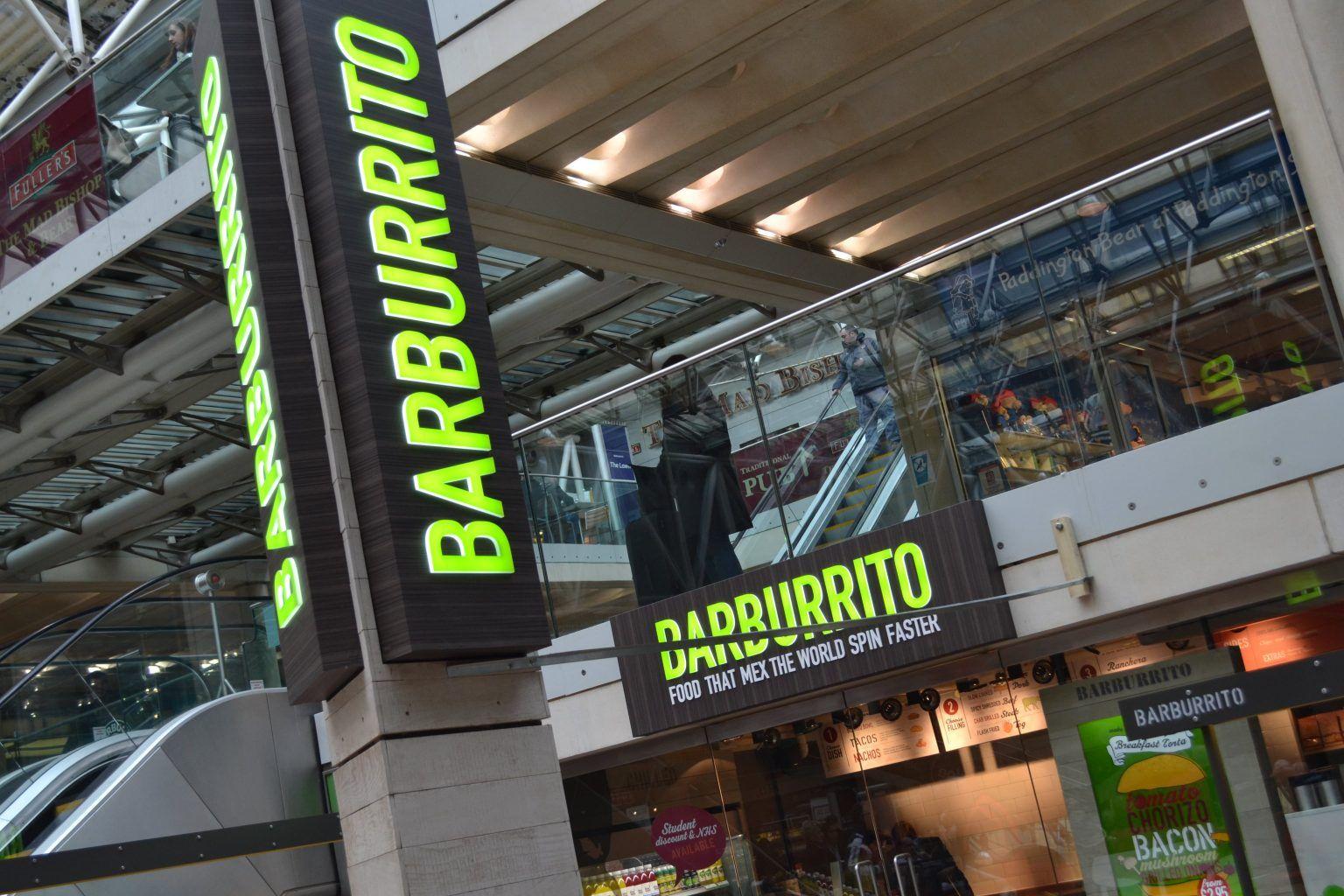 Barburrito Internally Illuminated Gantry Sign
