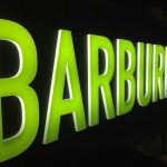 Barburrito Tray Sign With Internally Illuminated Acrylic Letters