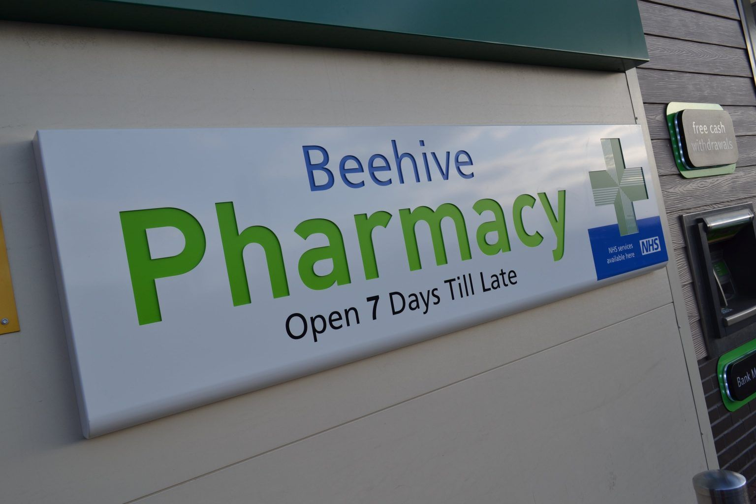 Beehive Pharmacy Internally Illuminated Tray Sign