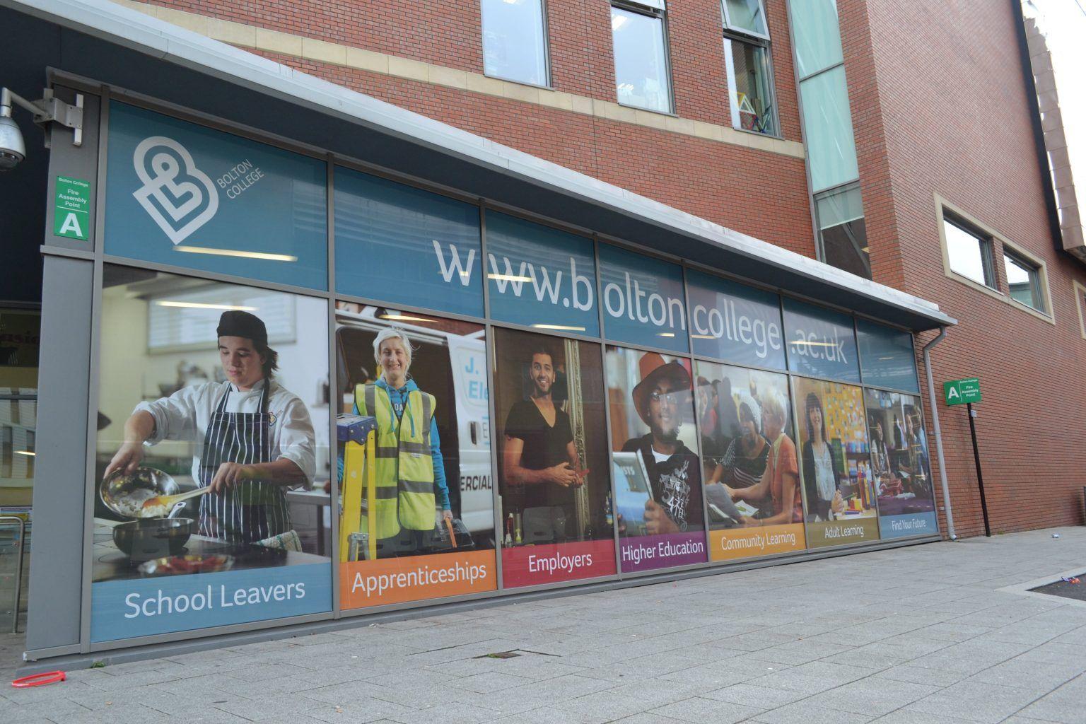 Bolton College Full colour printed contravision graphics