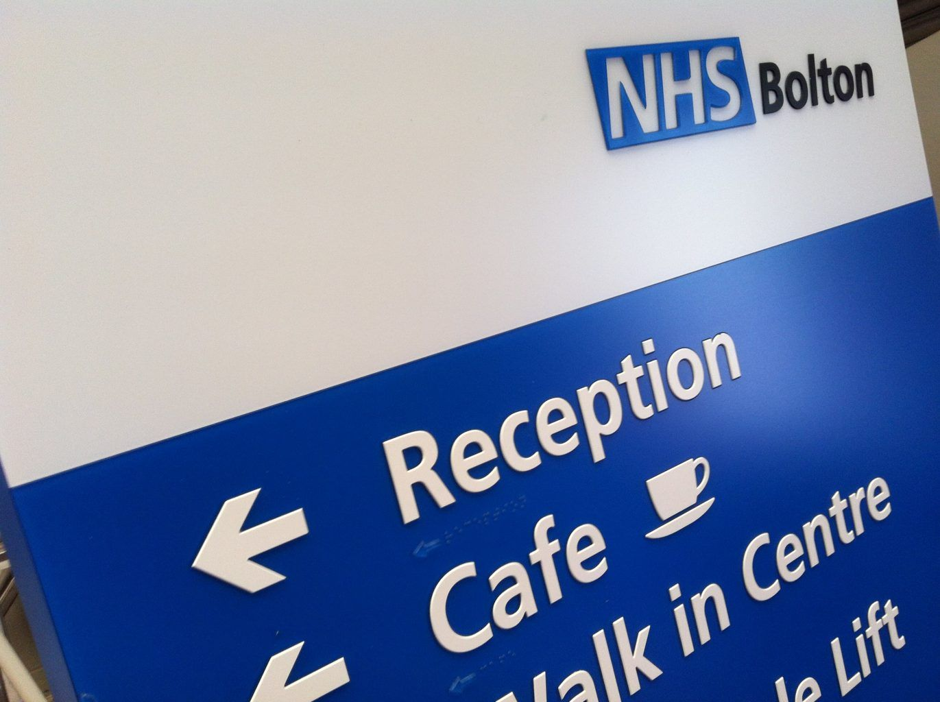 Bolton NHS health sector freestanding Post Sign