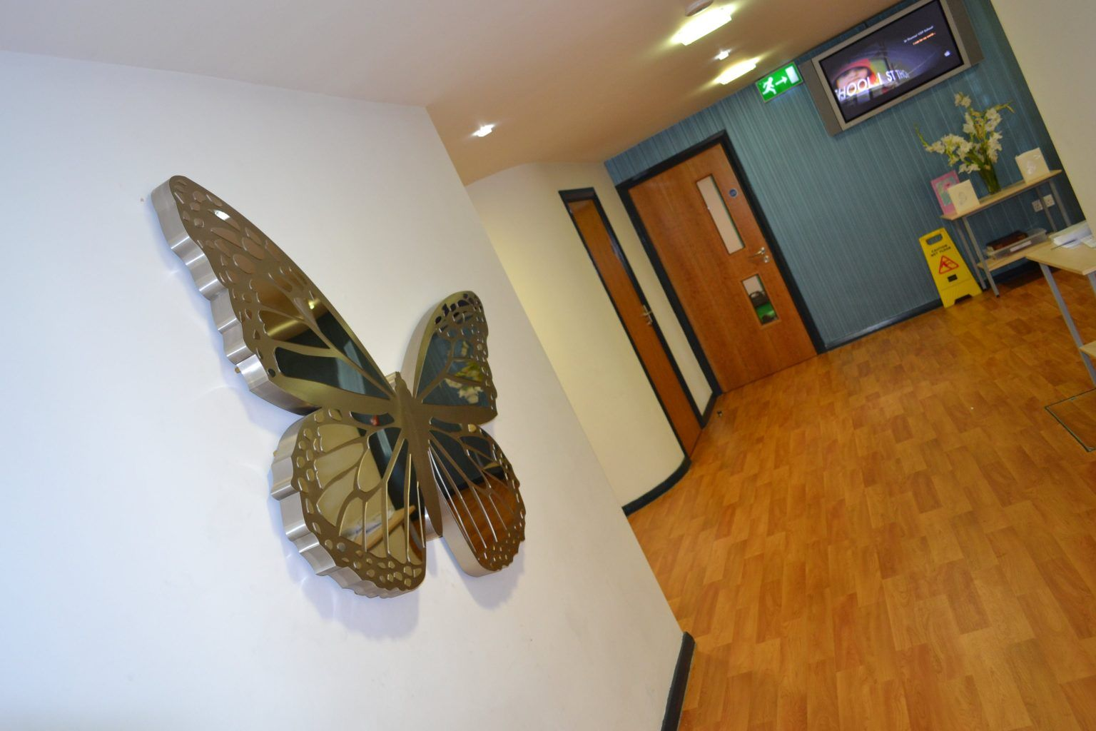 Built up Brushed Stainless Steel Butterfly With Mirrored Finish Overlay
