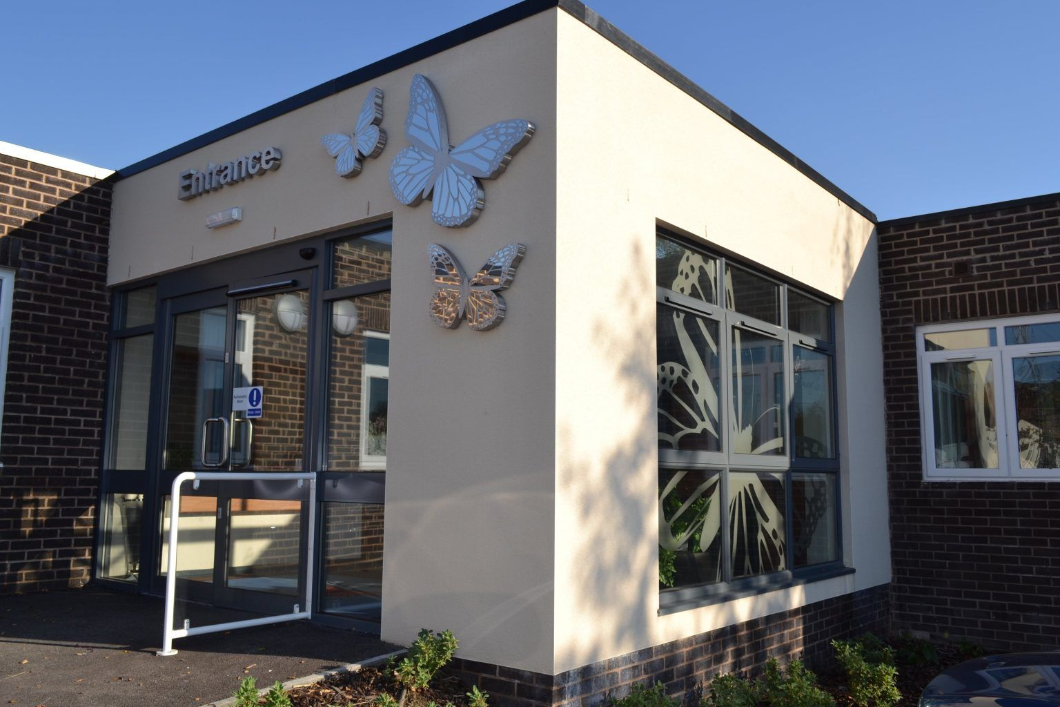 Built up Brushed Stainless Steel Butterfly With Mirrored Finish Overlay & Built Up Stainless Steel Letters