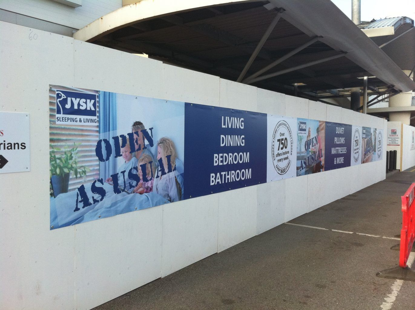 Full colour printed PVC hoarding banner JYSK.