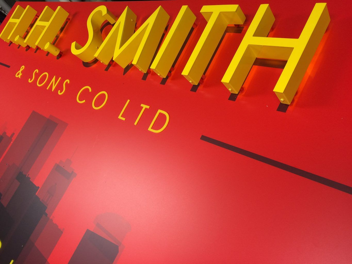H.H Smith Aluminium sign tray with a full colour print to the face and built up letters