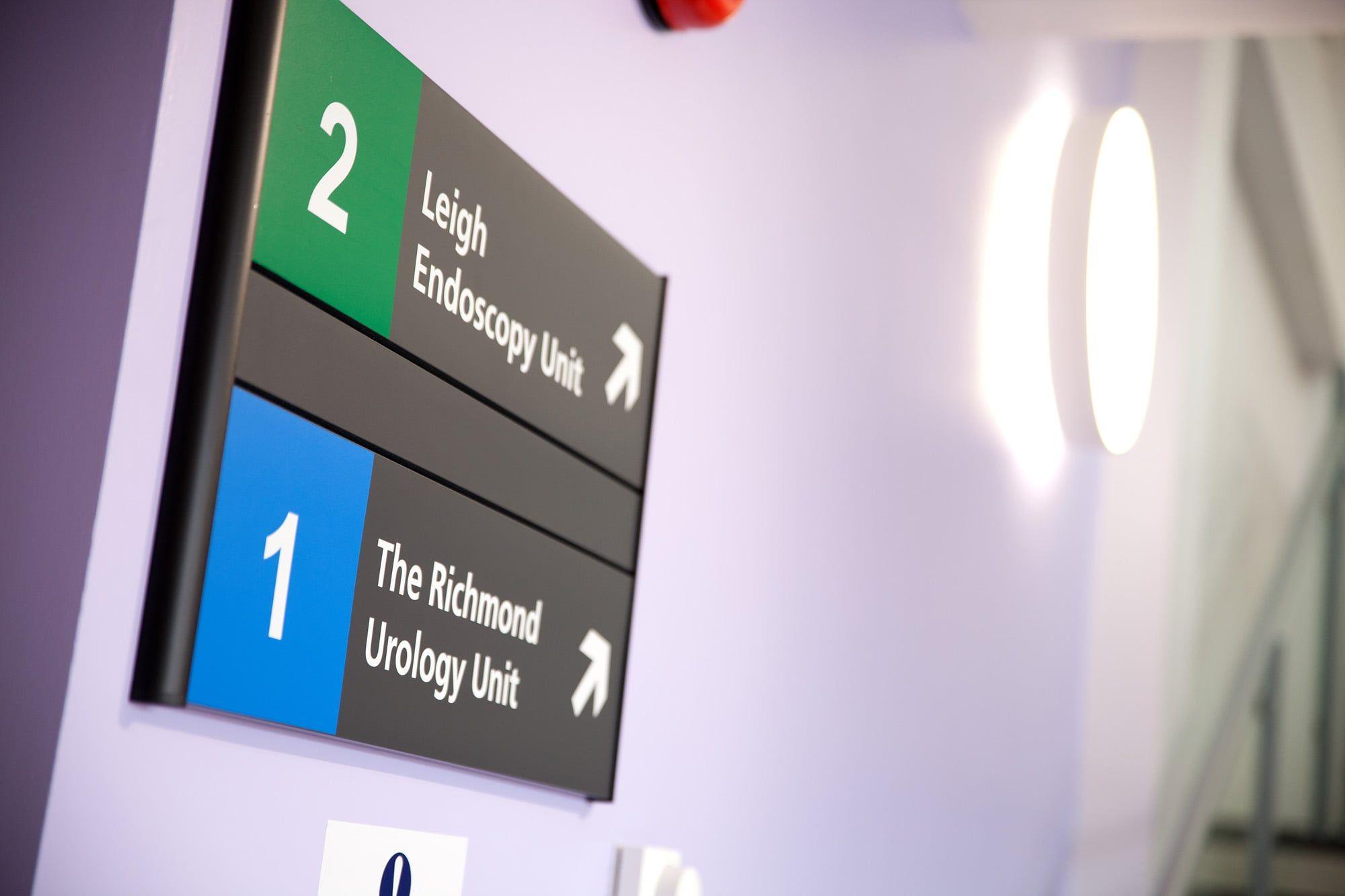 Hospital wayfinding floor signage