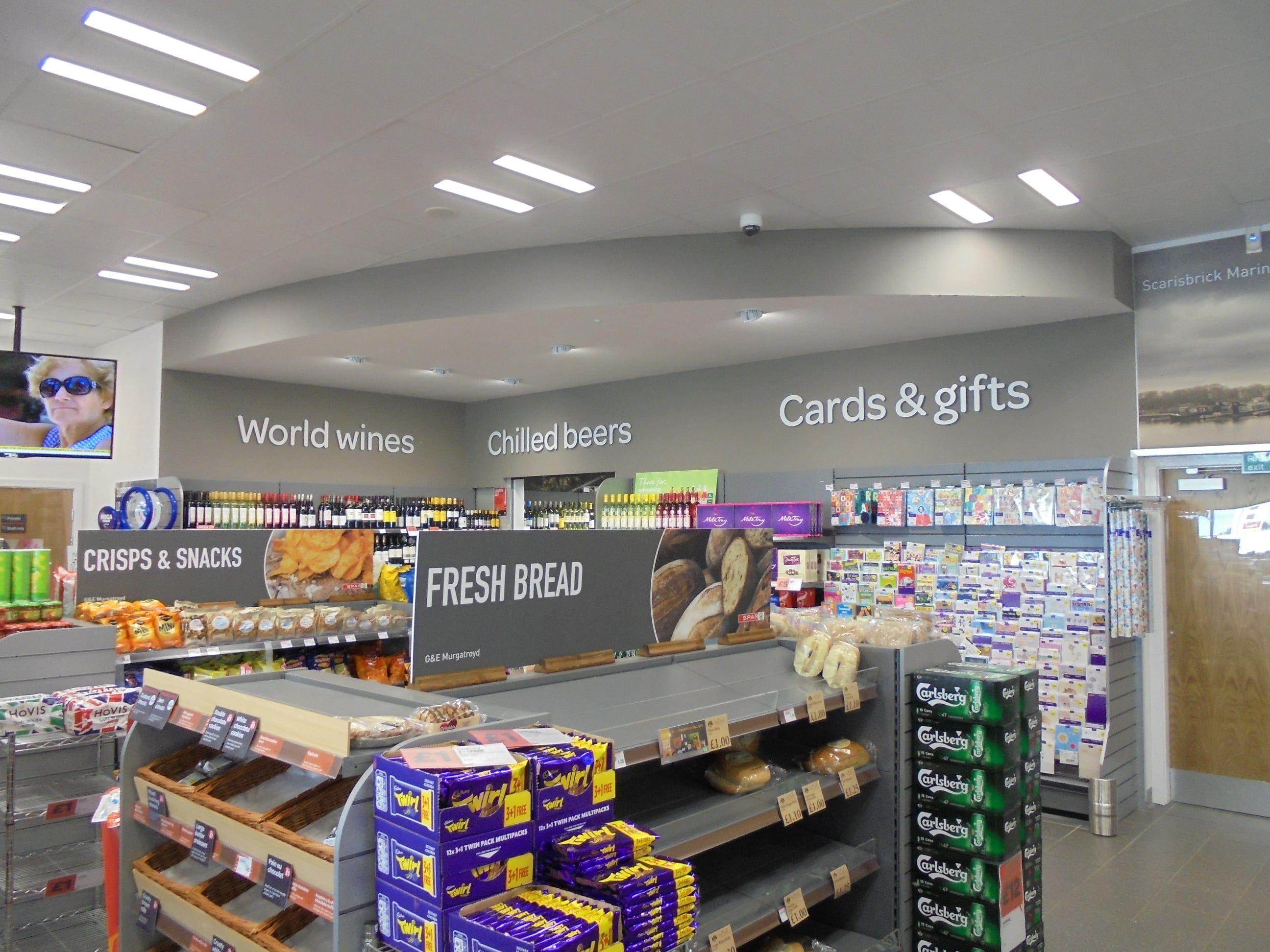 Internal grocery flat cut letters