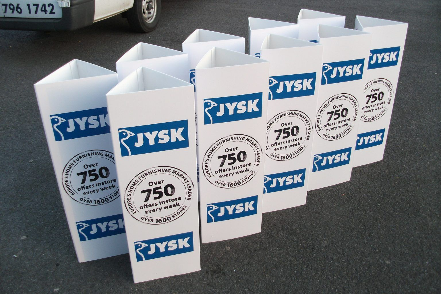 JYSK Large format digitally printed bollard wraps