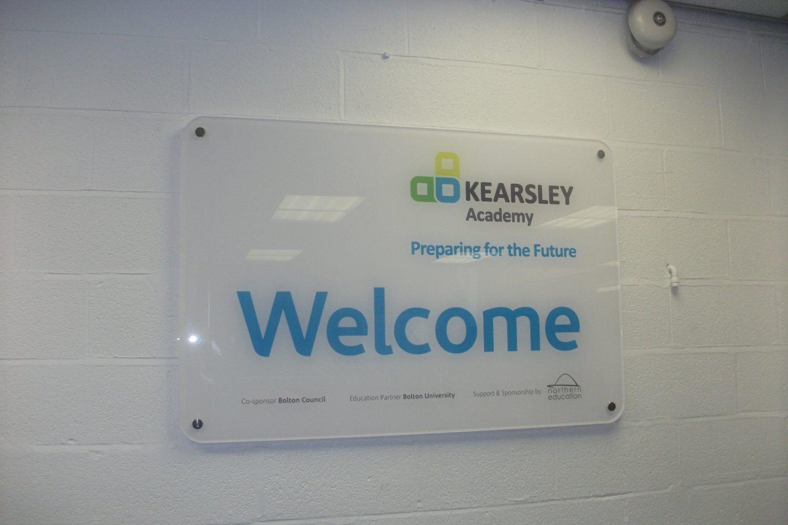 Kearsley Academy welcome wayfinding signs