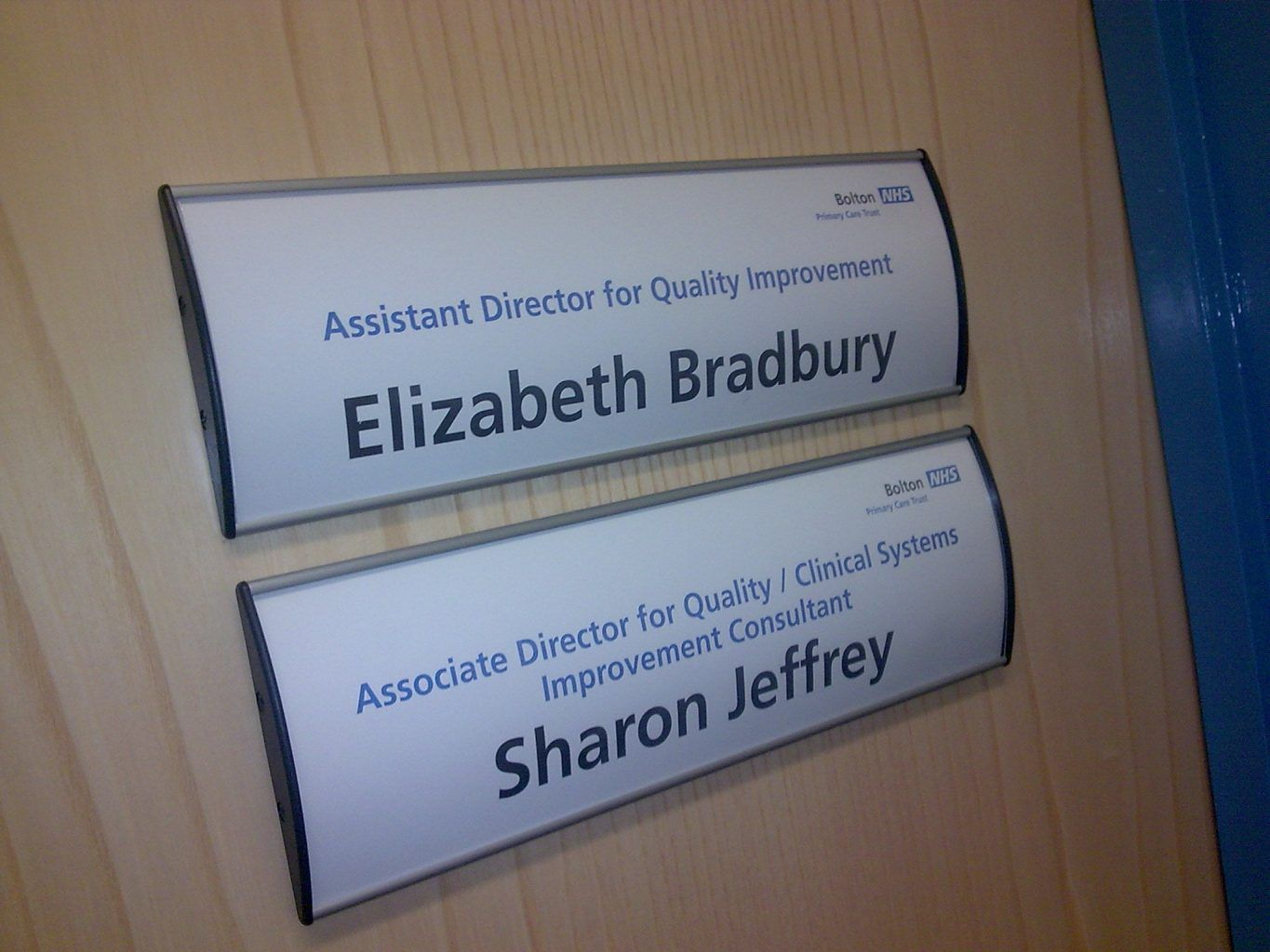 NHS health sector door signs
