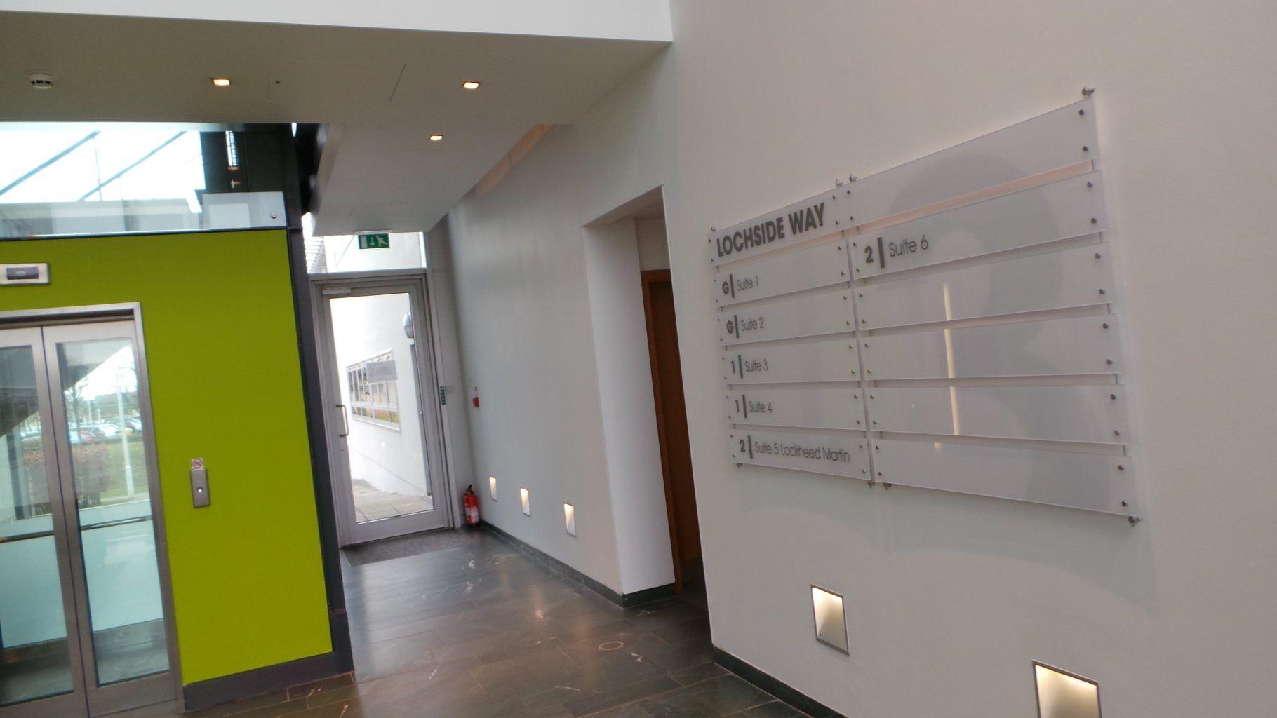 Office acrylic wayfinding sign