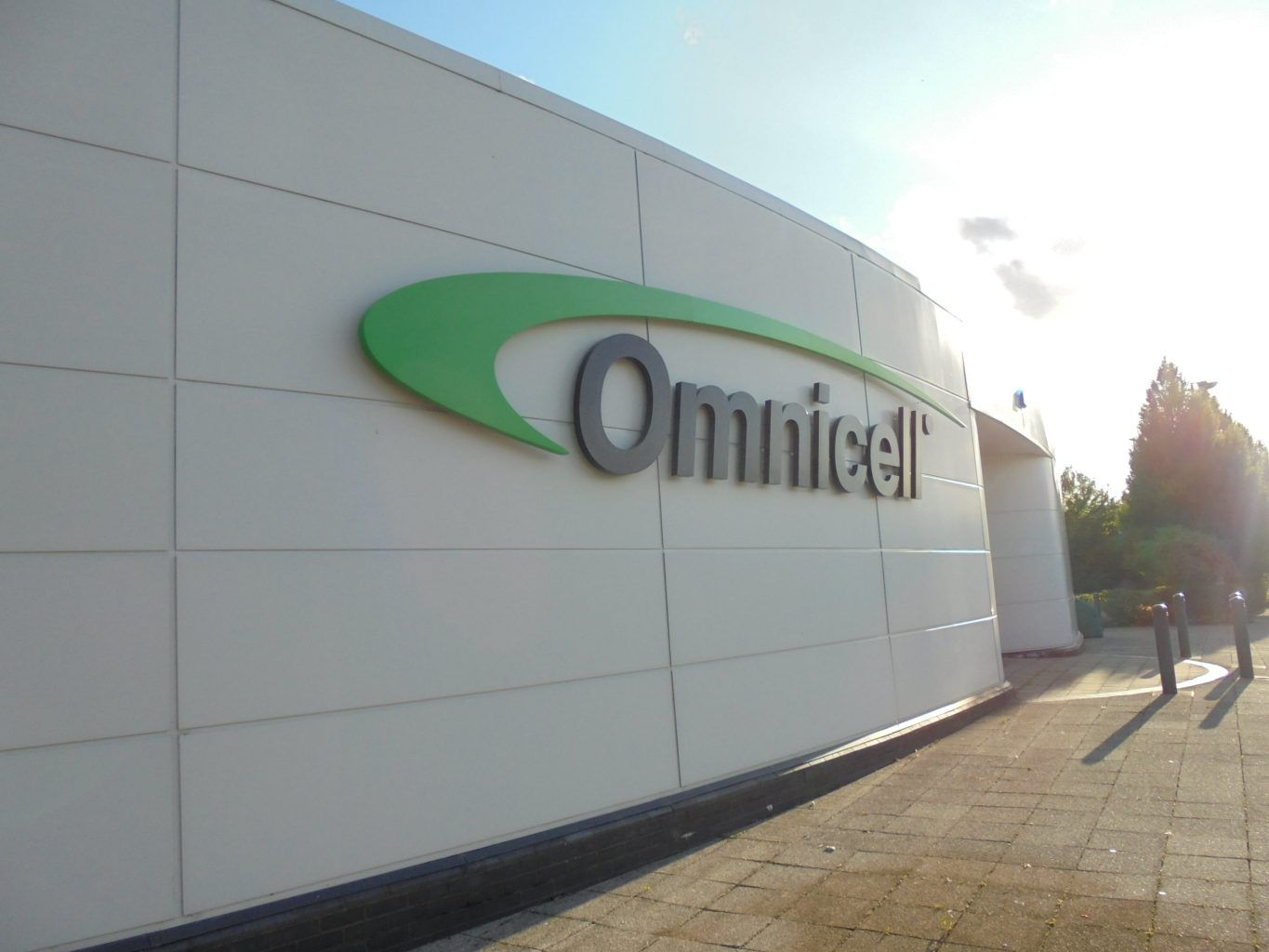 Omnicell corporate built up powder coated letters