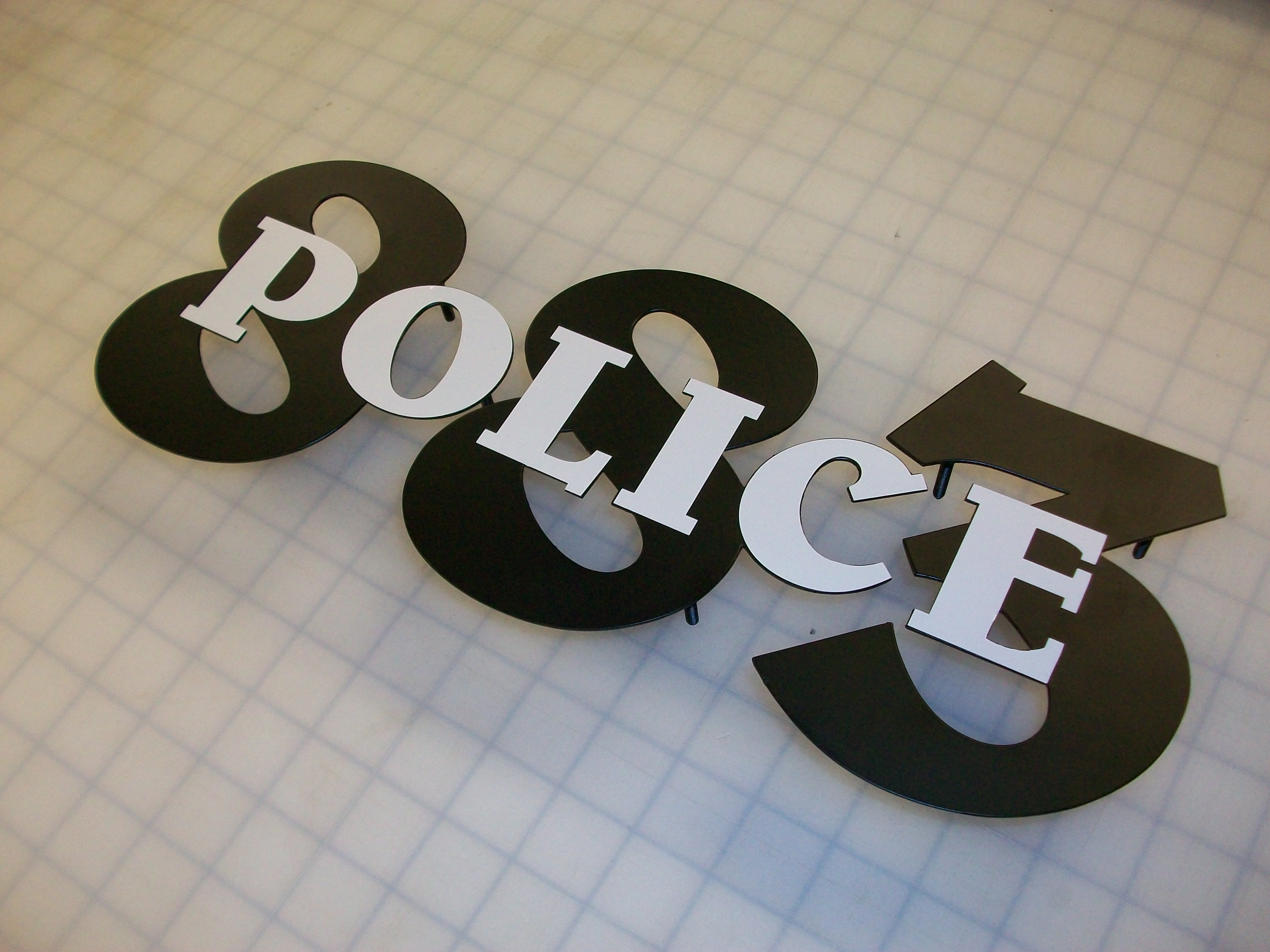 Police flat cut letters