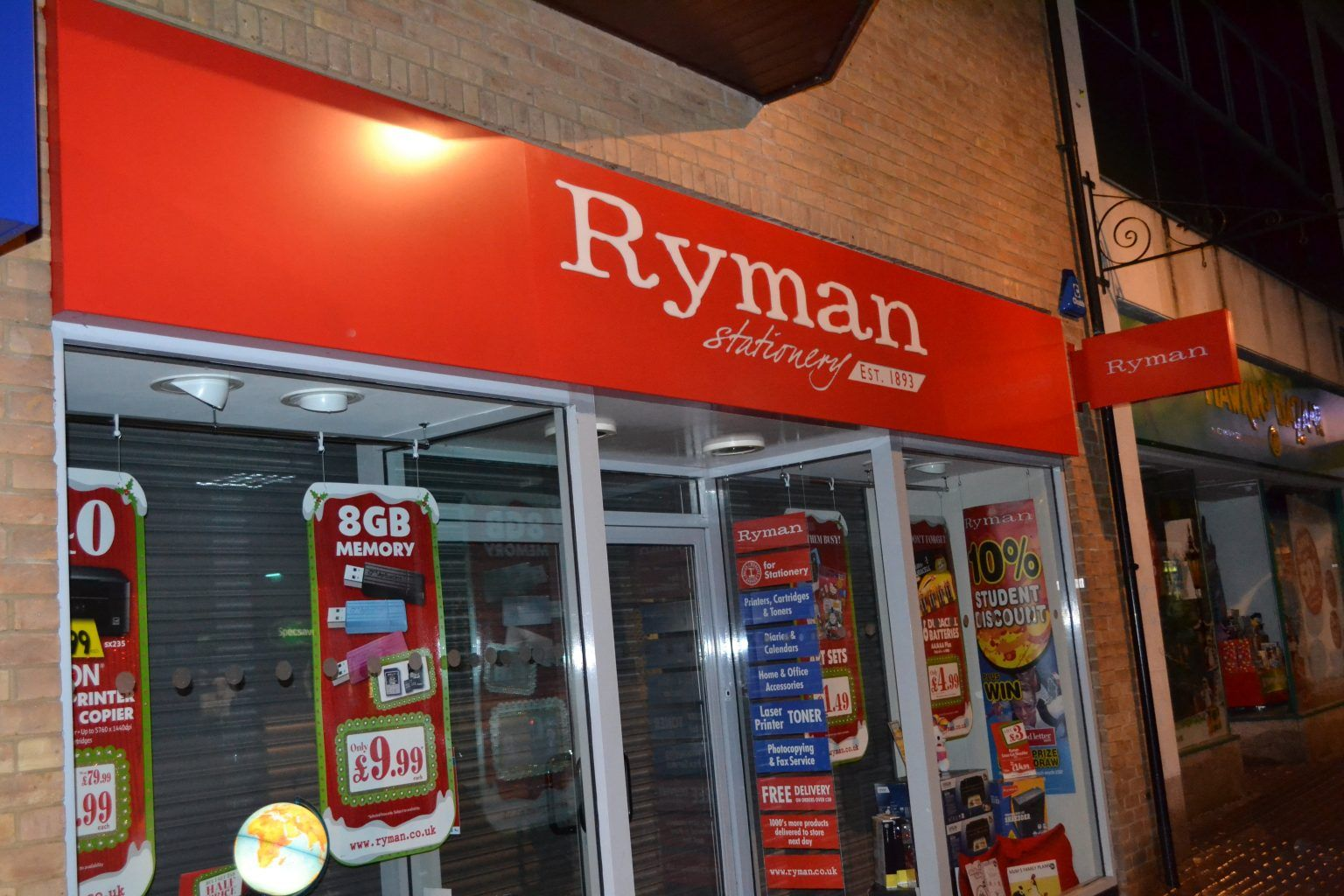 RYMAN POWDER COATED ALUMINIUM FASCIA SIGN