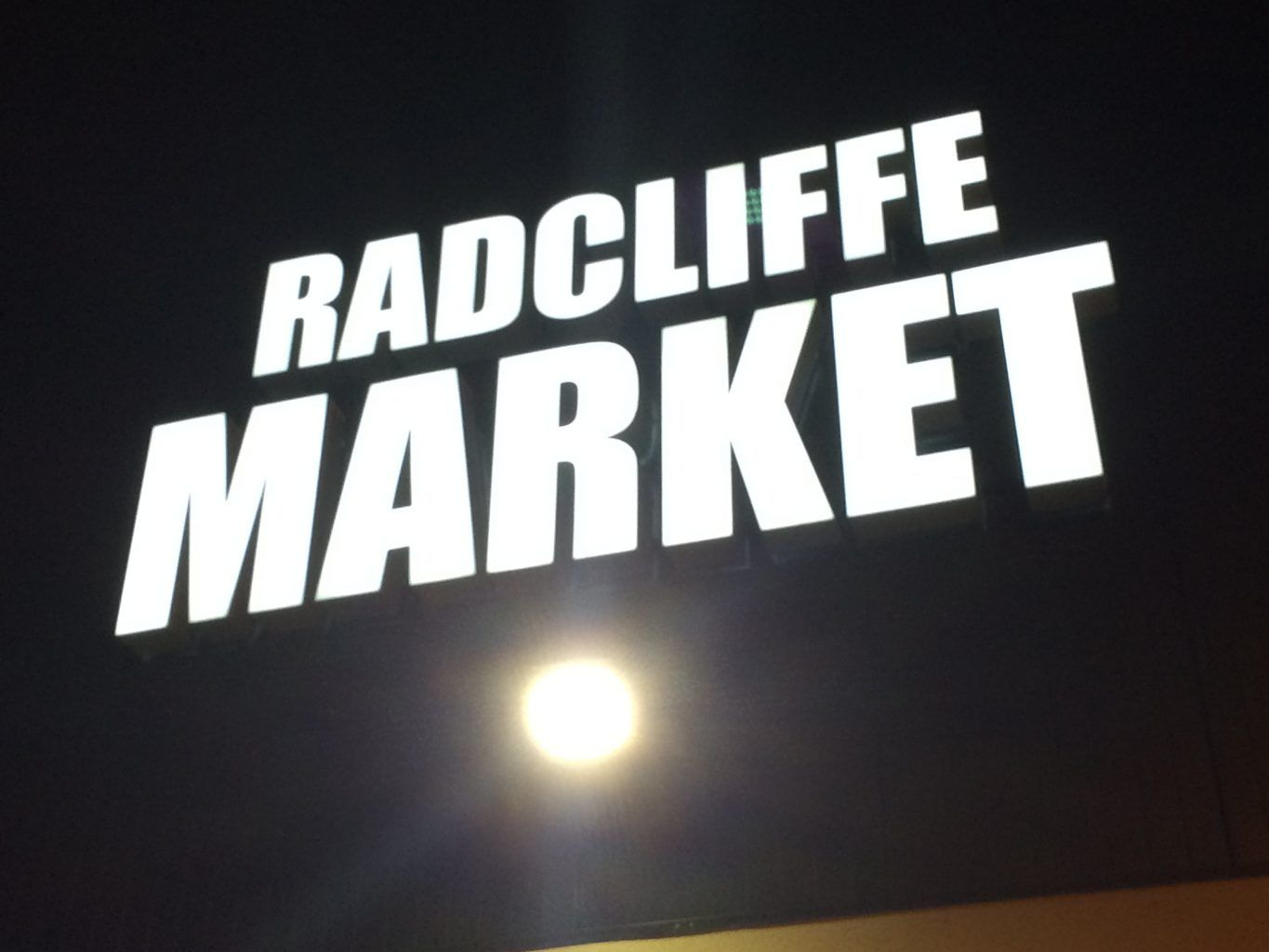 Radcliffe Market corporate built up powder coated letters with face illumination