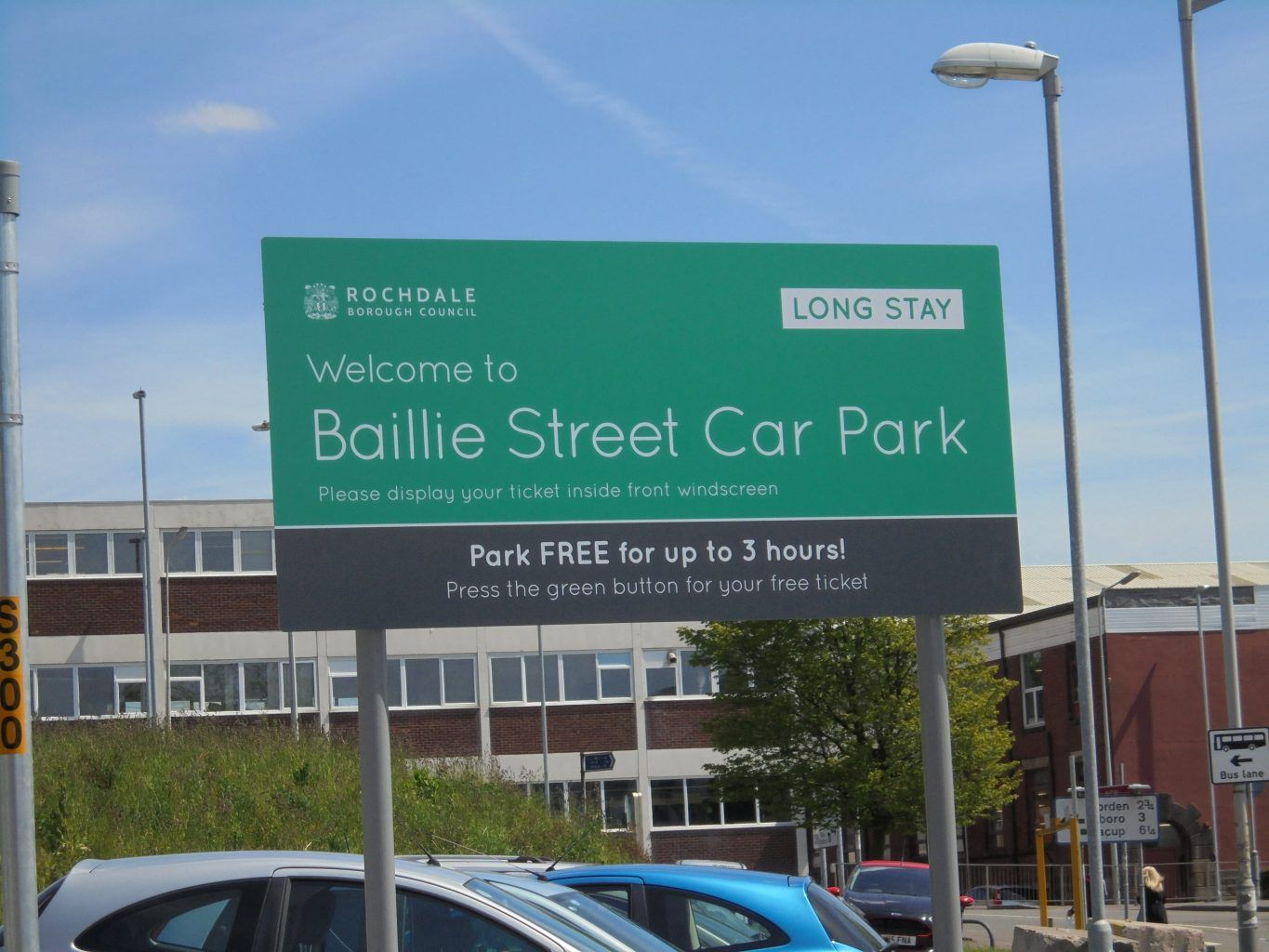 Rochdale council car parking sign