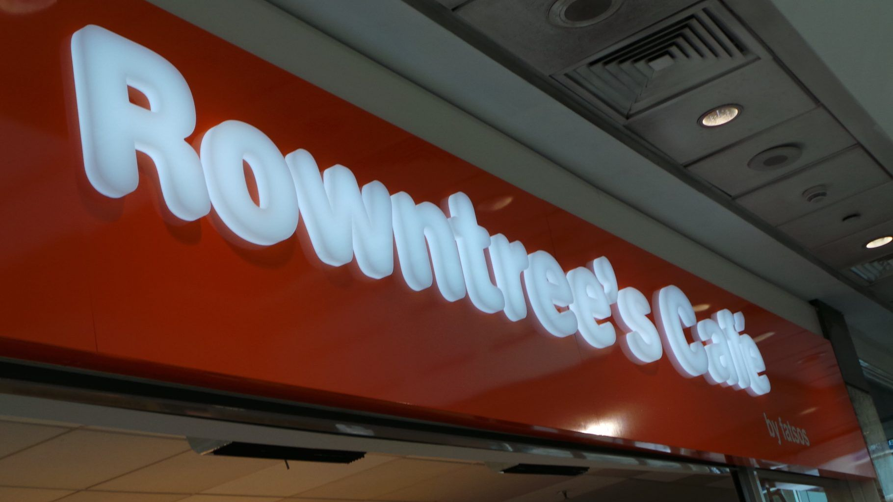 Rowntrees Fascia Sign With Acrylic Letters