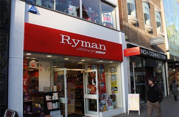Ryman Fret Cut push through letter Fascia sign