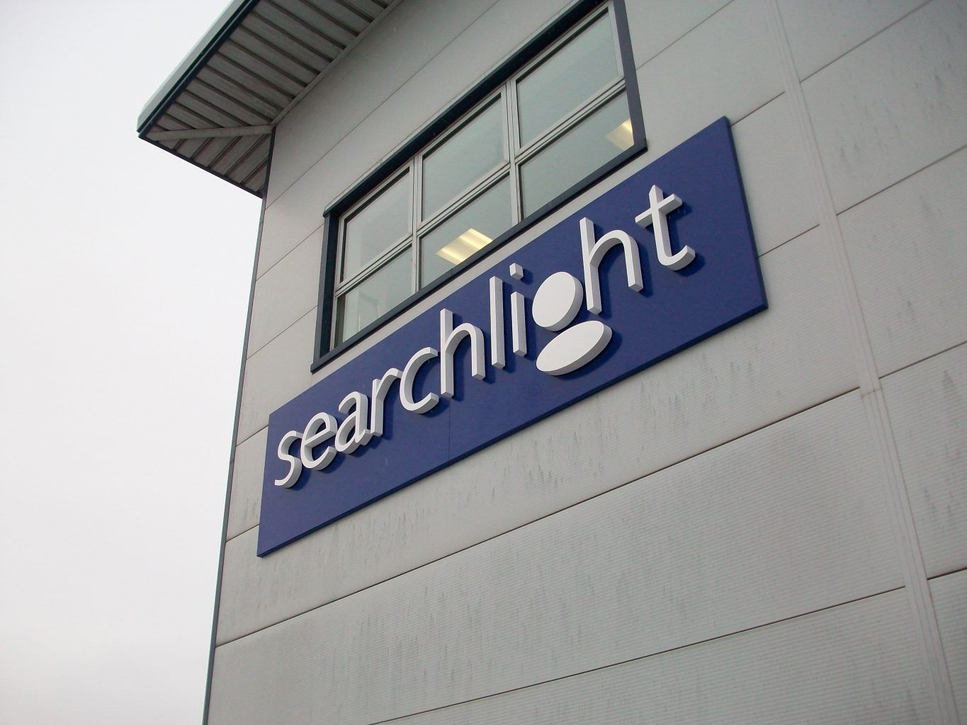 Searchlight Built up letters mounted to an aluminium sign tray