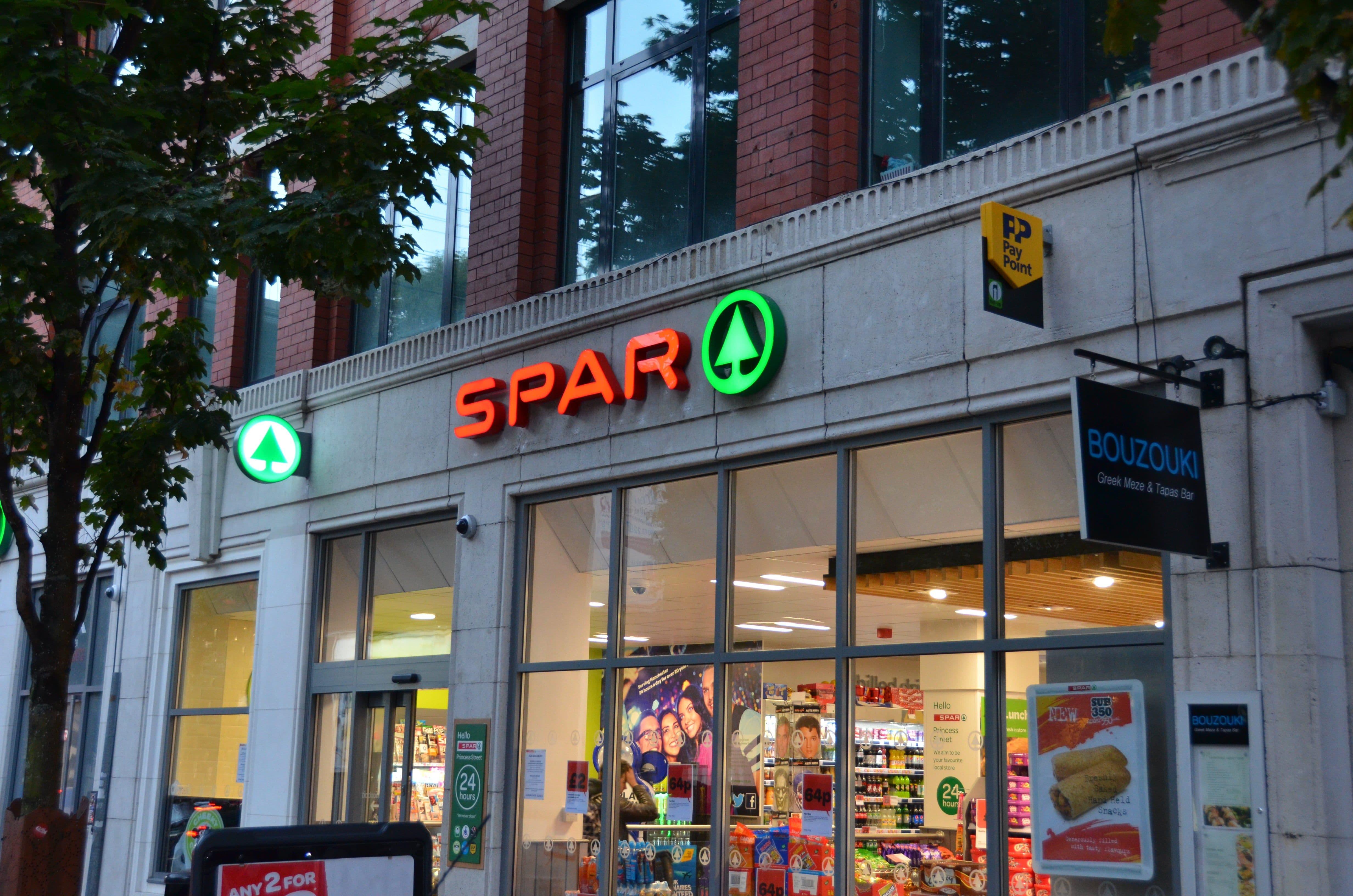 Spar built up letter fascia sign