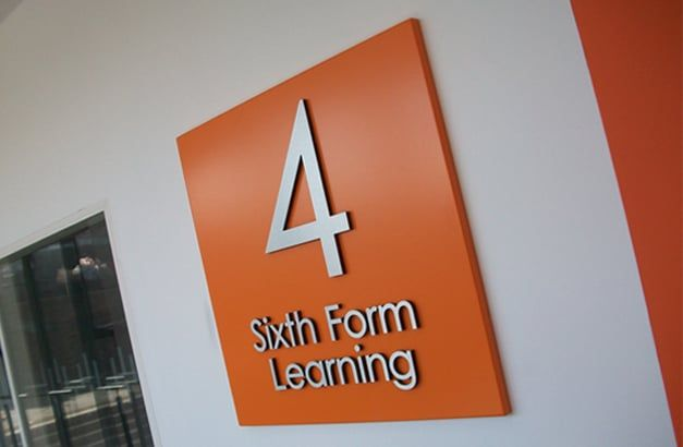 St catherines academy non illuminated sign tray with brushed stainless steel letter bonded to the face