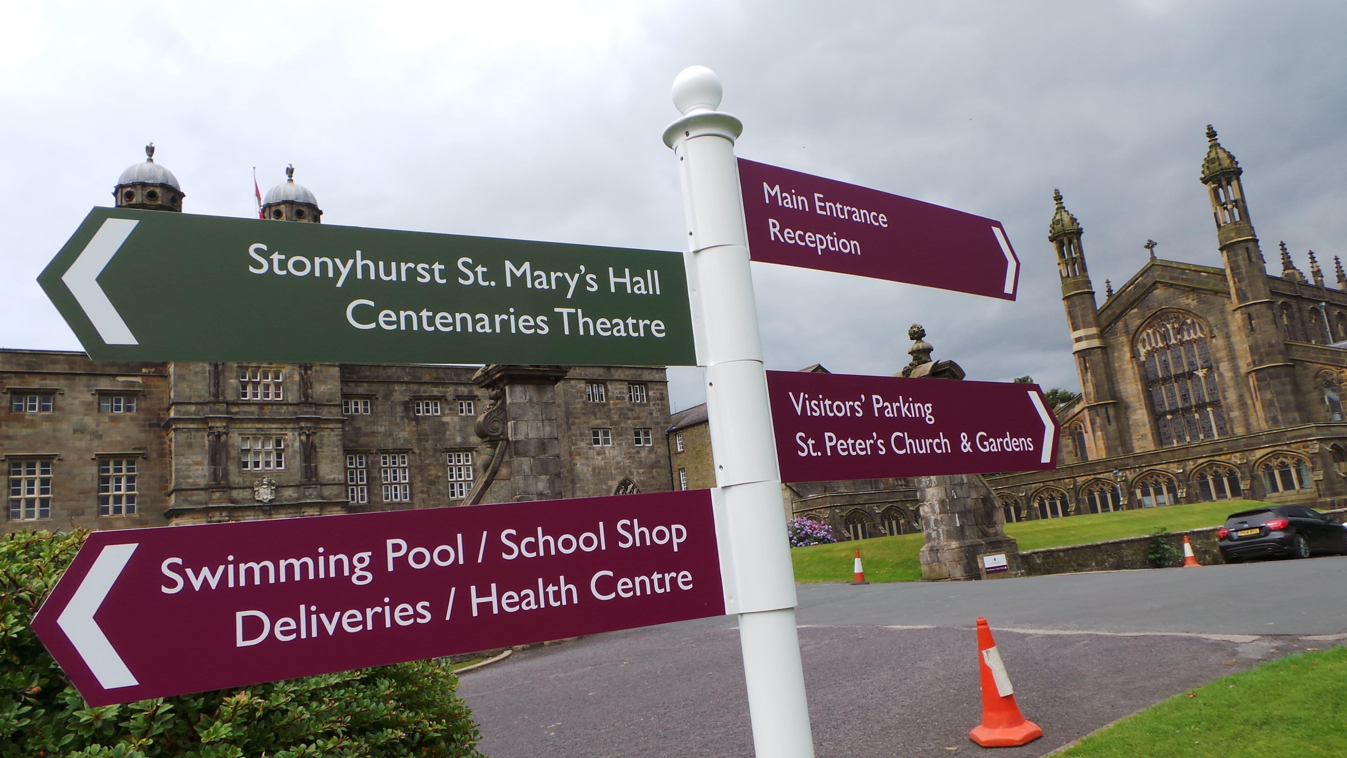 Stonyhurst College Directory Post Sign