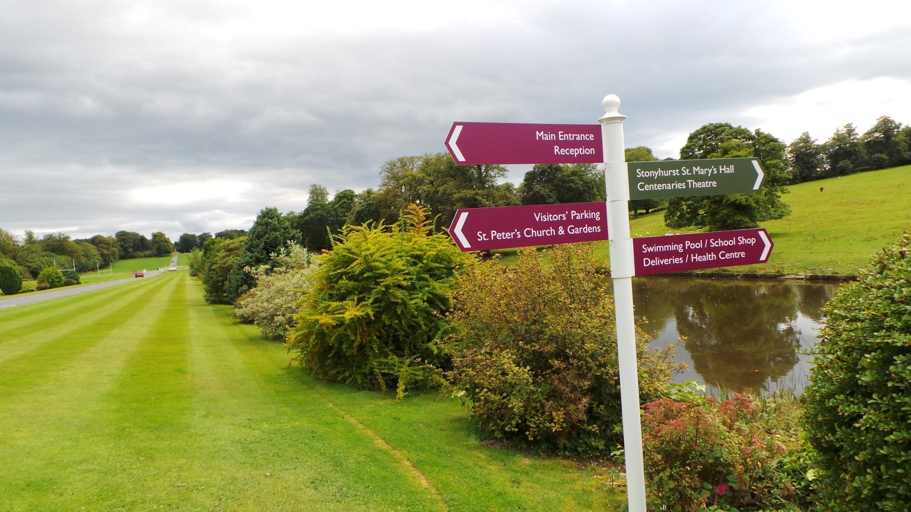 Stonyhurst College Wayfinding Post Sign