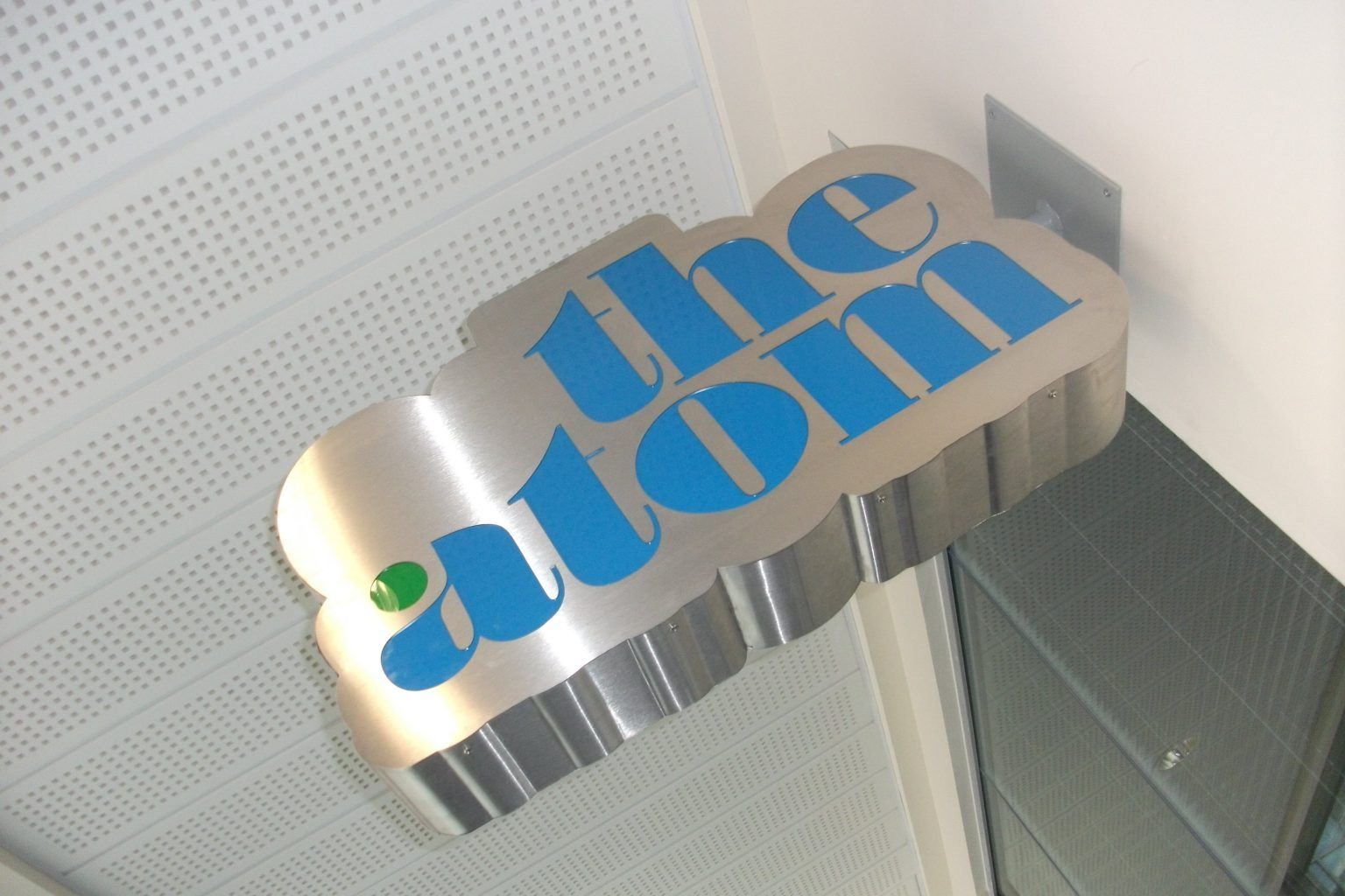 The Atom Engraved Stainless Steel Projecting Sign