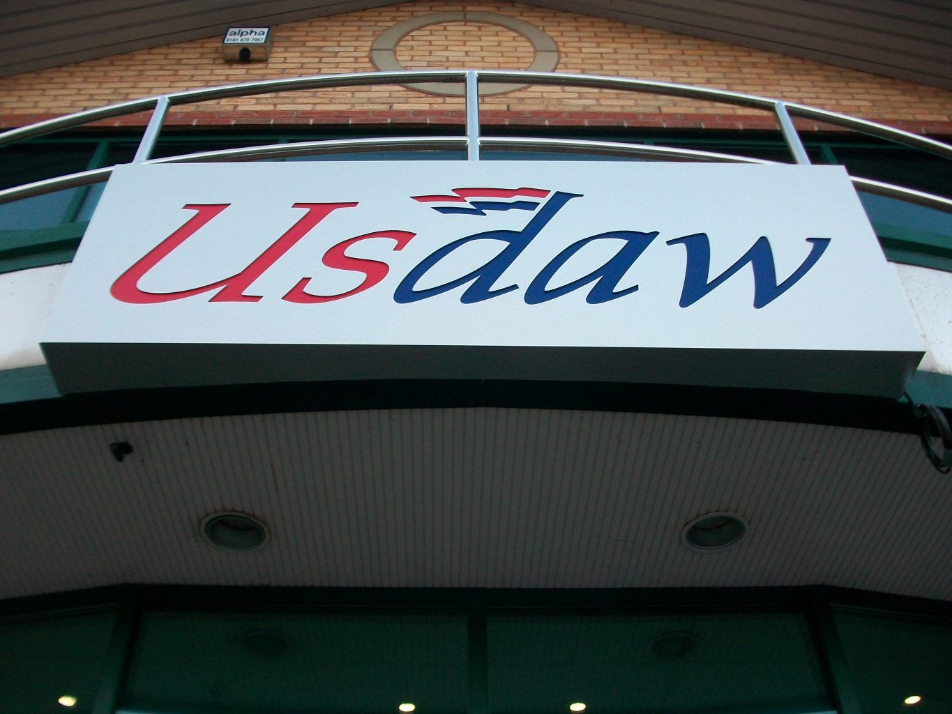 Usdaw Fret cut brushed composite tray sign